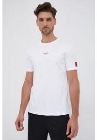 Hugo - T-shirt bawełniany. Okazja: na co dzień. Kolor: biały. Materiał: bawełna. Wzór: aplikacja. Styl: casual