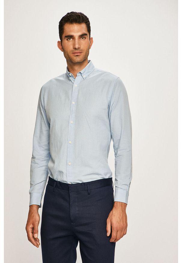 Niebieska koszula PRODUKT by Jack & Jones casualowa, na co dzień, button down