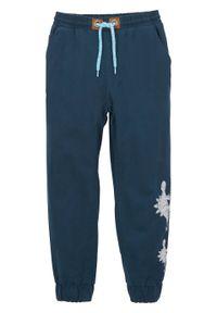 Niebieskie spodnie bonprix z nadrukiem, na zimę, casualowe, na co dzień