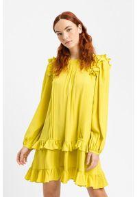 TwinSet - Cytrynowo żółta jedwabna sukienka Twinset. Kolor: żółty. Materiał: jedwab. Długość: mini