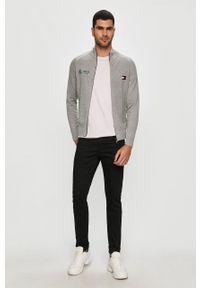 Szary sweter rozpinany Tommy Hilfiger Tailored casualowy, raglanowy rękaw, z aplikacjami, na co dzień