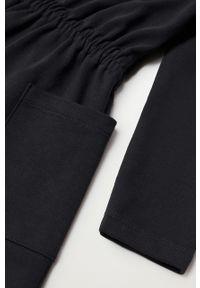 Czarna sukienka Mango Kids prosta, mini, z długim rękawem