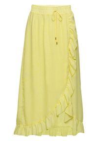 Spódnica z lejącego materiału bonprix jasna limonka - biały w kwiatki. Kolor: żółty. Materiał: materiał. Wzór: kwiaty