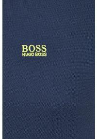 BOSS - Boss - Polo Boss Athleisure. Okazja: na co dzień. Typ kołnierza: polo. Kolor: niebieski. Materiał: dzianina. Długość: krótkie. Wzór: gładki, aplikacja. Styl: casual