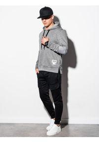 Ombre Clothing - Bluza męska z kapturem B1075 - szary melanż - XXL. Typ kołnierza: kaptur. Kolor: szary. Materiał: poliester, bawełna. Wzór: melanż