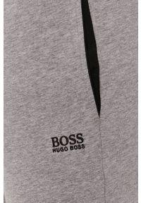 BOSS - Boss - Spodnie. Okazja: na co dzień. Kolor: szary. Materiał: dzianina, bawełna. Styl: casual