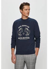 Niebieska bluza nierozpinana Pepe Jeans z nadrukiem, casualowa