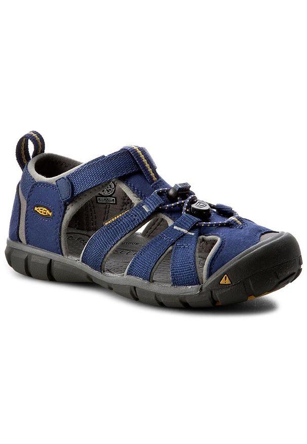 Niebieskie buty trekkingowe keen na plażę, trekkingowe, z cholewką