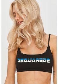 Czarny biustonosz sportowy DSQUARED2 z odpinanymi ramiączkami, z nadrukiem