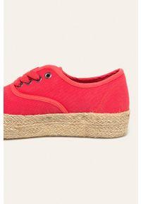 Czerwone buty sportowe Big-Star na sznurówki, z cholewką