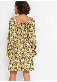 Żółta sukienka bonprix w kwiaty