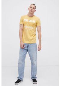 Tom Tailor - T-shirt. Okazja: na co dzień. Kolor: żółty. Materiał: dzianina. Wzór: nadruk. Styl: casual