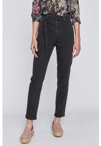 Czarne proste jeansy medicine z podwyższonym stanem, w kolorowe wzory