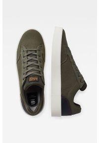 Zielone sneakersy G-Star RAW na sznurówki, z cholewką, z okrągłym noskiem