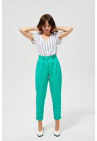 MOODO - Spodnie w kant z wysokim stanem. Stan: podwyższony. Materiał: poliester, elastan. Długość: długie. Wzór: gładki
