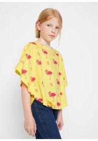 Shirt plażowy dziewczęcy (2 szt.) bonprix jasna limonka - różowy hibiskus. Okazja: na plażę. Kolor: żółty. Materiał: bawełna, materiał. Wzór: nadruk. Sezon: lato