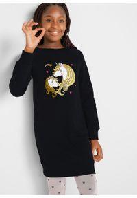 Sukienka dresowa dziewczęca z bawełny organicznej bonprix czarny. Kolor: czarny. Materiał: bawełna, dresówka. Wzór: nadruk #3