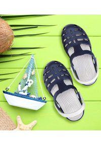 REALPAKS - Klapki dziecięce Realpaks SLD-08 Granatowo-Szare. Okazja: na plażę. Kolor: niebieski, wielokolorowy, szary. Materiał: tworzywo sztuczne. Styl: młodzieżowy
