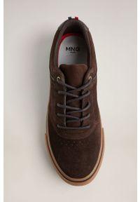 Brązowe sneakersy Mango Man z cholewką, z okrągłym noskiem, na sznurówki