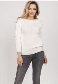 MKM - Sweterek z Ozdobnymi Ściągaczami - Ecru. Materiał: akryl, wiskoza