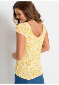 Żółta bluzka bonprix z dekoltem karo, krótka, z krótkim rękawem