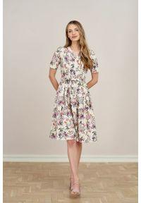 Marie Zélie - Sukienka Alodia Belleza kremowa. Kolor: kremowy. Materiał: bawełna, wiskoza, skóra, materiał