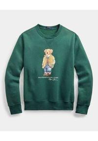Ralph Lauren - RALPH LAUREN - Bluza polarowa z misiem Polo. Okazja: na co dzień. Typ kołnierza: polo. Kolor: zielony. Materiał: polar. Długość rękawa: długi rękaw. Długość: długie. Wzór: nadruk. Styl: klasyczny, casual