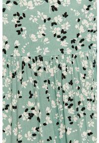 Miętowa sukienka ANSWEAR w kwiaty, prosta, na co dzień, z krótkim rękawem