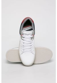 Białe sneakersy U.S. Polo Assn na sznurówki, na średnim obcasie, z cholewką