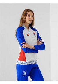 4f - Bluza damska Słowacja - Tokio 2020. Typ kołnierza: kołnierzyk stójkowy. Kolor: biały. Materiał: dzianina, materiał. Długość rękawa: raglanowy rękaw. Sezon: lato