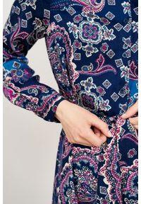 Marie Zélie - Sukienka Eliza Venosa. Materiał: skóra, wiskoza. Długość rękawa: długi rękaw. Typ sukienki: szmizjerki. Styl: klasyczny