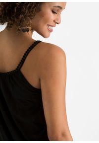 Top na wąskich ramiączkach bonprix czarny. Kolor: czarny. Długość rękawa: na ramiączkach