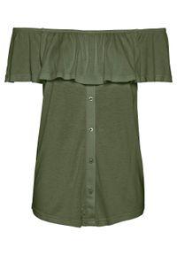 """Shirt z dekoltem """"carmen"""" bonprix ciemny khaki. Typ kołnierza: typu carmen. Kolor: zielony"""