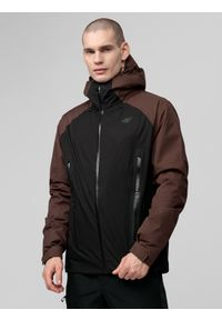 Czarna kurtka przeciwdeszczowa 4f z nadrukiem