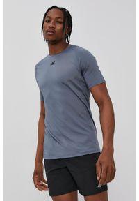 4f - 4F - T-shirt. Kolor: niebieski. Materiał: włókno, dzianina. Wzór: gładki