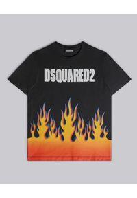 DSQUARED2 KIDS - Bawełniany t-shirt z grafiką płomienia 4-14 lat. Kolor: czarny. Materiał: bawełna. Sezon: lato. Styl: klasyczny #1