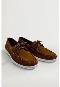 Mango Man - Półbuty zamszowe SAIL. Nosek buta: okrągły. Zapięcie: sznurówki. Kolor: brązowy. Materiał: zamsz #3