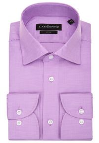 Lancerto - Koszula Wrzosowa w Pepitę Grace. Kolor: fioletowy. Materiał: bawełna, jeans, tkanina, wełna. Wzór: ze splotem