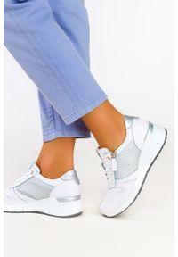 Filippo - Białe sneakersy filippo skórzane buty sportowe sznurowane z ozdobnym suwakiem dp2052/21wn. Kolor: biały. Materiał: skóra