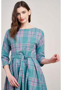 Marie Zélie - Sukienka Andrea wełna w kratę turkus z fuksją. Kolor: różowy. Materiał: wełna. Typ sukienki: rozkloszowane. Styl: klasyczny