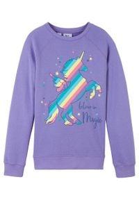 Bluza dziewczęca bonprix jasny lila. Kolor: fioletowy. Wzór: nadruk
