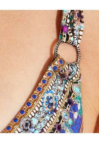 Camilla - CAMILLA - Trójkątny top od bikini Animal Army. Kolor: niebieski. Materiał: tkanina. Wzór: aplikacja