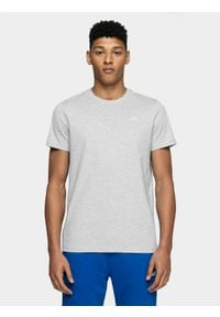 4f - T-shirt męski. Kolor: szary. Materiał: materiał