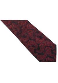 Modini - Bordowy krawat męski w paisley C21. Kolor: czerwony. Materiał: tkanina, mikrofibra. Wzór: paisley