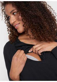 Czarna bluzka bonprix moda ciążowa, z długim rękawem, długa