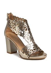 Złote sandały Roberto na obcasie, na średnim obcasie, eleganckie