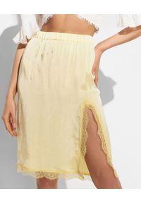 Ermanno Firenze - ERMANNO FIRENZE - Żółta spódnica ze wstawkami z koronki. Kolor: żółty. Materiał: koronka. Wzór: koronka