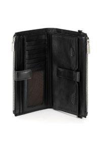 Wittchen - Damski portfel ze skóry z funkcją kopertówki. Kolor: czarny. Materiał: skóra. Wzór: gładki