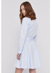 Polo Ralph Lauren - Sukienka. Typ kołnierza: polo. Kolor: niebieski. Materiał: tkanina. Długość rękawa: długi rękaw. Wzór: gładki. Typ sukienki: rozkloszowane