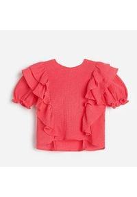 Reserved - Bluzka z falbanką - Pomarańczowy. Kolor: pomarańczowy